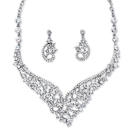 Round Crystal Tiara-Inspired Scroll Necklace and Earrings Set in Rhodium-Plated Finish at PalmBeach Jewelry
