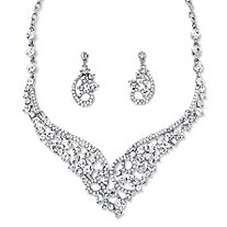 Round Crystal Tiara-Inspired Scroll Necklace and Earrings Set in Rhodium-Plated Finish