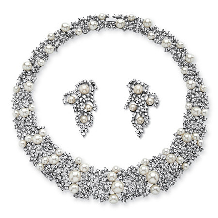 Simulated Pearl and Crystal Choker Necklace and Earrings Set in Rhodium-Plated Finish at PalmBeach Jewelry