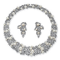 Simulated Pearl and Crystal 2-Piece Cluster Earring and Collar Necklace Set in Silvertone 16""