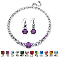 SETA JEWELRY Round Checkerboard-Cut Simulated Birthstone Necklace and Drop Earrings Set in Silvertone Adjustable 17