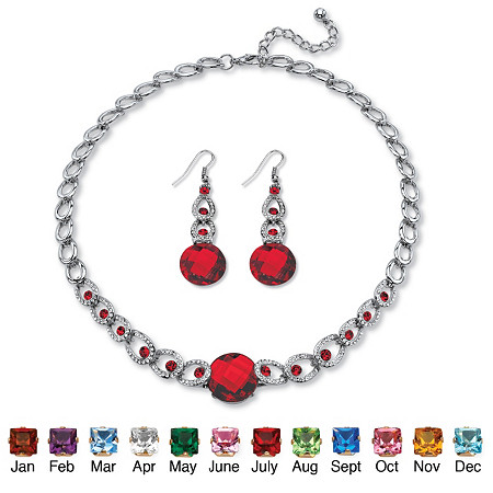 Round Checkerboard-Cut Birthstone Necklace and Drop Earrings Set in Silvertone Adjustable 17