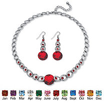 SETA JEWELRY Round Checkerboard-Cut Birthstone Necklace and Drop Earrings Set in Silvertone Adjustable 17