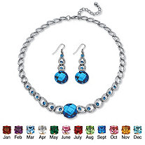 "Round Checkerboard-Cut Simulated Birthstone Necklace and Drop Earrings Set in Silvertone Adjustable 17""-20"""