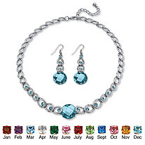 "Round Checkerboard-Cut Birthstone Necklace and Drop Earrings Set in Silvertone Adjustable 17""-20"""