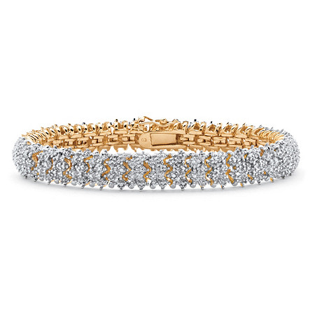 1/4 TCW Diamond Snake-Link Bracelet 18k Gold-Plated 7
