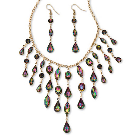 Mystic Crystal Multi-Shaped Bib Necklace and Earrings Set in Gold Tone at PalmBeach Jewelry