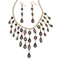 Mystic Crystal Multi-Shaped Bib Necklace and Earrings Set in Gold Tone