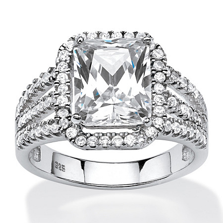 4.38 TCW Emerald-Cut Cubic Zirconia Halo Ring in Platinum Over .925 Sterling Silver at PalmBeach Jewelry