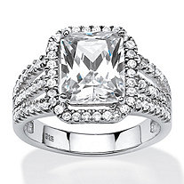 SETA JEWELRY 4.38 TCW Emerald-Cut Cubic Zirconia Halo Ring in Platinum Over .925 Sterling Silver