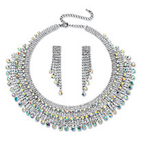 Round Aurora Borealis Crystal Fringe Design Necklace and Earrings Set in Rhodium-Plated Finish
