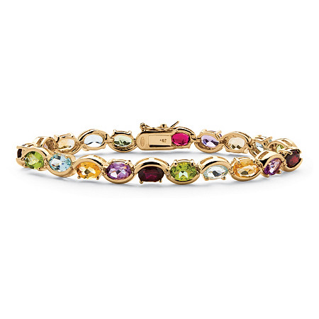 19 TCW Oval-Cut Genuine Gemstone and Diamond Accent Tennis Bracelet in 18k Yellow Gold over Sterling Silver at PalmBeach Jewelry