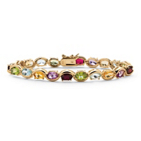 Oval-Cut Genuine Gemstone And Diamond Accent Tennis Bracelet In 18k Yellow Gold Over Sterling Silver ONLY $89.99