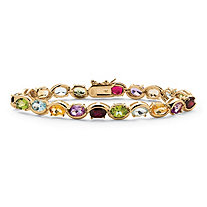 19 TCW Oval-Cut Genuine Gemstone and Diamond Accent Tennis Bracelet in 18k Yellow Gold over Sterling Silver