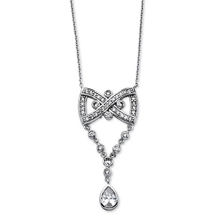 1.46 TCW Pear Drop Cubic Zirconia Vintage-Style Bow Tie Necklace Platinum-Plated at PalmBeach Jewelry