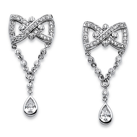 1.59 TCW Pear Drop Cubic Zirconia Vintage-Style Bow Tie Earrings in Platinum-Plated Finish at PalmBeach Jewelry