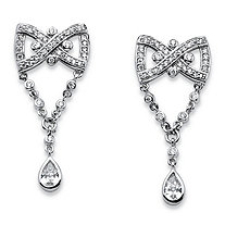 SETA JEWELRY 1.59 TCW Pear Drop Cubic Zirconia Vintage-Style Bow Tie Earrings in Platinum-Plated Finish