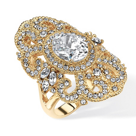 2.54 TCW Oval-Cut Cubic Zirconia and Crystal Vintage-Style Cocktail Ring in 14k Gold-Plated at PalmBeach Jewelry