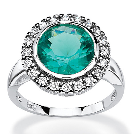 .30 TCW Round Aqua Simulated Spinel Halo Cocktail Ring in Rhodium-Plated Sterling Silver at PalmBeach Jewelry