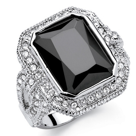 14.25 TCW Emerald-Cut Black Cubic Zirconia Vintage Halo Cocktail Ring in Platinum-Plated Finish at PalmBeach Jewelry