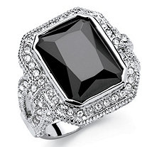 SETA JEWELRY 14.25 TCW Emerald-Cut Black Cubic Zirconia Vintage Halo Cocktail Ring in Platinum-Plated Finish