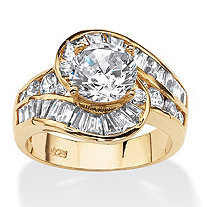 SETA JEWELRY 4.79 TCW Round Cubic Zirconia Bypass Ring in 14k Gold Over Sterling Silver