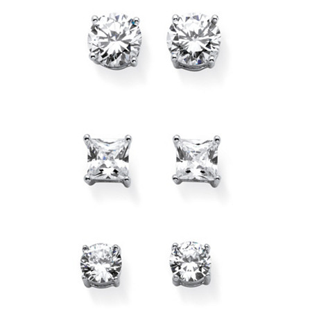 Round and Princess-Cut Cubic Zirconia 3-Pair Set of Stud Earrings 9.20 TCW in Sterling Silver at PalmBeach Jewelry