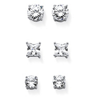 Round And Princess-Cut Cubic Zirconia 3-Pair Set Of Stud Earrings 9.20 TCW In Sterling Silver ONLY $25.74