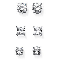 9.20 TCW Cubic Zirconia Three-Pair Set of Stud Earrings in Rhodium-Plated Sterling Silver
