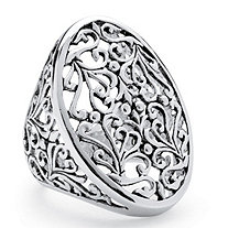 Oval Vintage-Inspired Filigree Ring in Sterling Silver