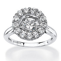 "1.76 TCW Round ""CZ in Motion"" Cubic Zirconia Halo Ring in Platinum over Sterling Silver"