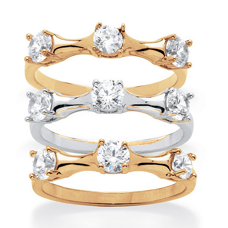 2.25 TCW Round Cubic Zirconia Three-Piece Bamboo Ring Set in 14k Gold-Plated and Silvertone at PalmBeach Jewelry