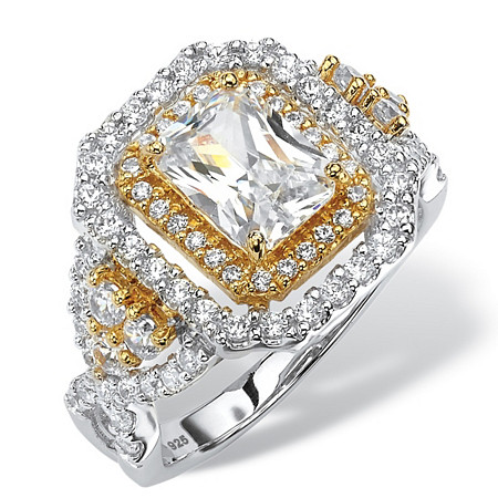 2.14 TCW Emerald-Cut Cubic Zirconia Halo Ring in 18k Yellow Gold and Platinum over Sterling Silver at PalmBeach Jewelry