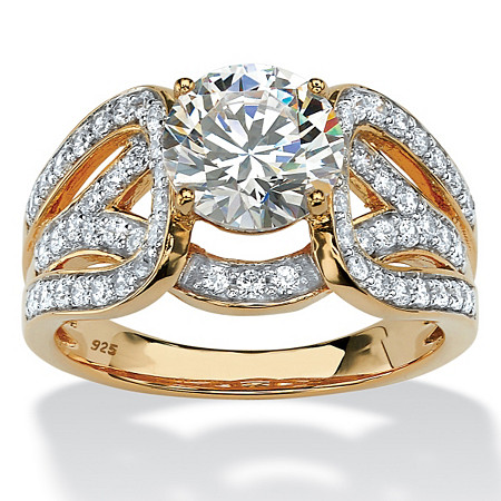 2.62 TCW Round Cubic Zirconia Crossover Ring in 18k Yellow Gold over Sterling Silver at PalmBeach Jewelry