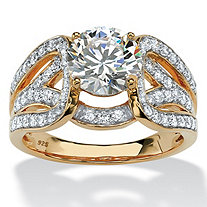 2.62 TCW Round Cubic Zirconia Crossover Ring in 18k Yellow Gold over Sterling Silver
