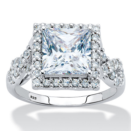 2.72 TCW Princess-Cut Cubic Zirconia Halo Squared Engagement Ring in Platinum over Sterling Silver at PalmBeach Jewelry