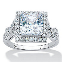 2.72 TCW Princess-Cut Cubic Zirconia Halo Squared Engagement Ring in Platinum over Sterling Silver