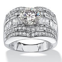 2.51 TCW Round and Baguette Cubic Zirconia Multi-Row Engagement Ring Platinum over Sterling Silver