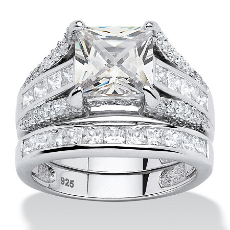 3.14 TCW Princess-Cut Cubic Zirconia 2-Piece Bridal Ring Set in Platinum over Sterling Silver at PalmBeach Jewelry