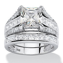 SETA JEWELRY 3.14 TCW Princess-Cut Cubic Zirconia 2-Piece Bridal Ring Set in Platinum over Sterling Silver