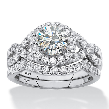 Cubic Zirconia 2-Piece Wedding Ring Set in Platinum over Sterling Silver 2.18 TCW Round Halo Crossover at PalmBeach Jewelry