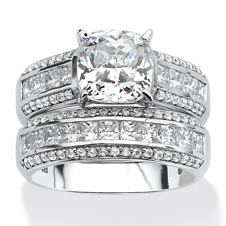 3.37 TCW Cushion-Cut Cubic Zirconia Two-Piece Bridal Set in Platinum over .925 Sterling Silver at PalmBeach Jewelry