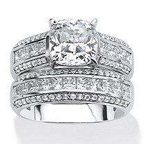SETA JEWELRY 3.37 TCW Cushion-Cut Cubic Zirconia Two-Piece Bridal Set in Platinum over .925 Sterling Silver