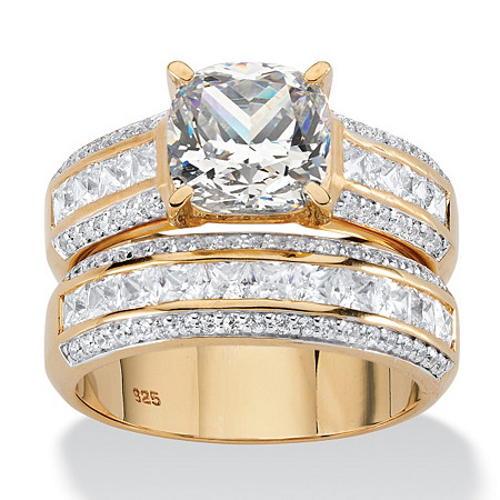 2.15 TCW Cushion-Cut White Cubic Zirconia 2-Piece Bridal Set in 14k Yellow Gold over Sterling Silver at PalmBeach Jewelry