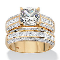 2.15 TCW Cushion-Cut White Cubic Zirconia 2-Piece Bridal Set in 14k Yellow Gold over Sterling Silver