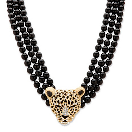 "Genuine Onyx and Crystal Leopard Beaded Necklace in Yellow Gold Tone 20""-22"" at PalmBeach Jewelry"