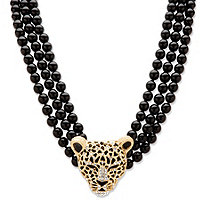 "Genuine Onyx and Crystal Leopard Beaded Necklace in Yellow Gold Tone 20""-22"""