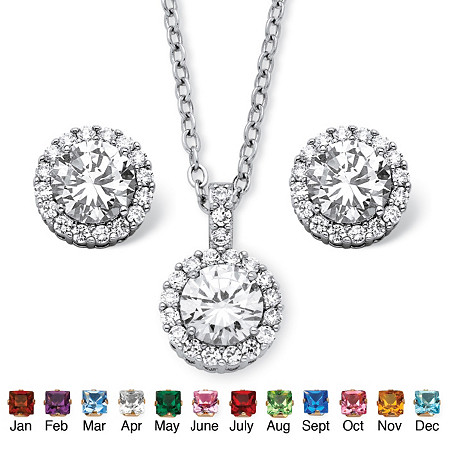 4.30 TCW Round Birthstone and Cubic Zirconia Halo Set in Silvertone at PalmBeach Jewelry