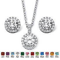 4.30 TCW Round Birthstone Cubic Zirconia Halo Necklace and Earrings Set in Silvertone