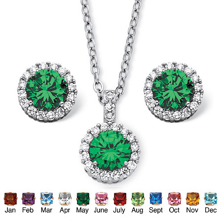 4.30 TCW Round Birthstone Cubic Zirconia Halo Necklace and Earrings Set in Silvertone at PalmBeach Jewelry